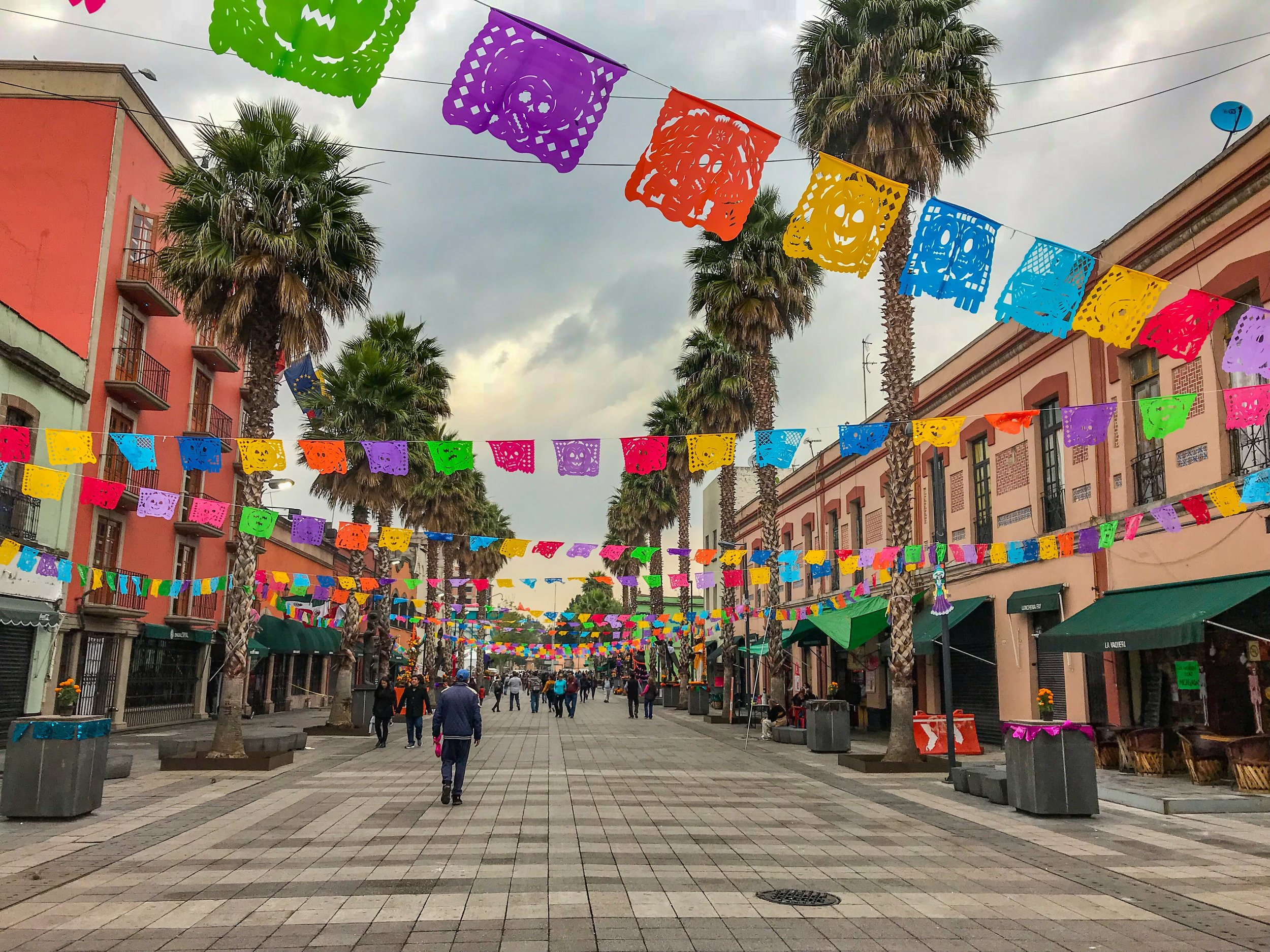 Stroll through brightly decorated streets