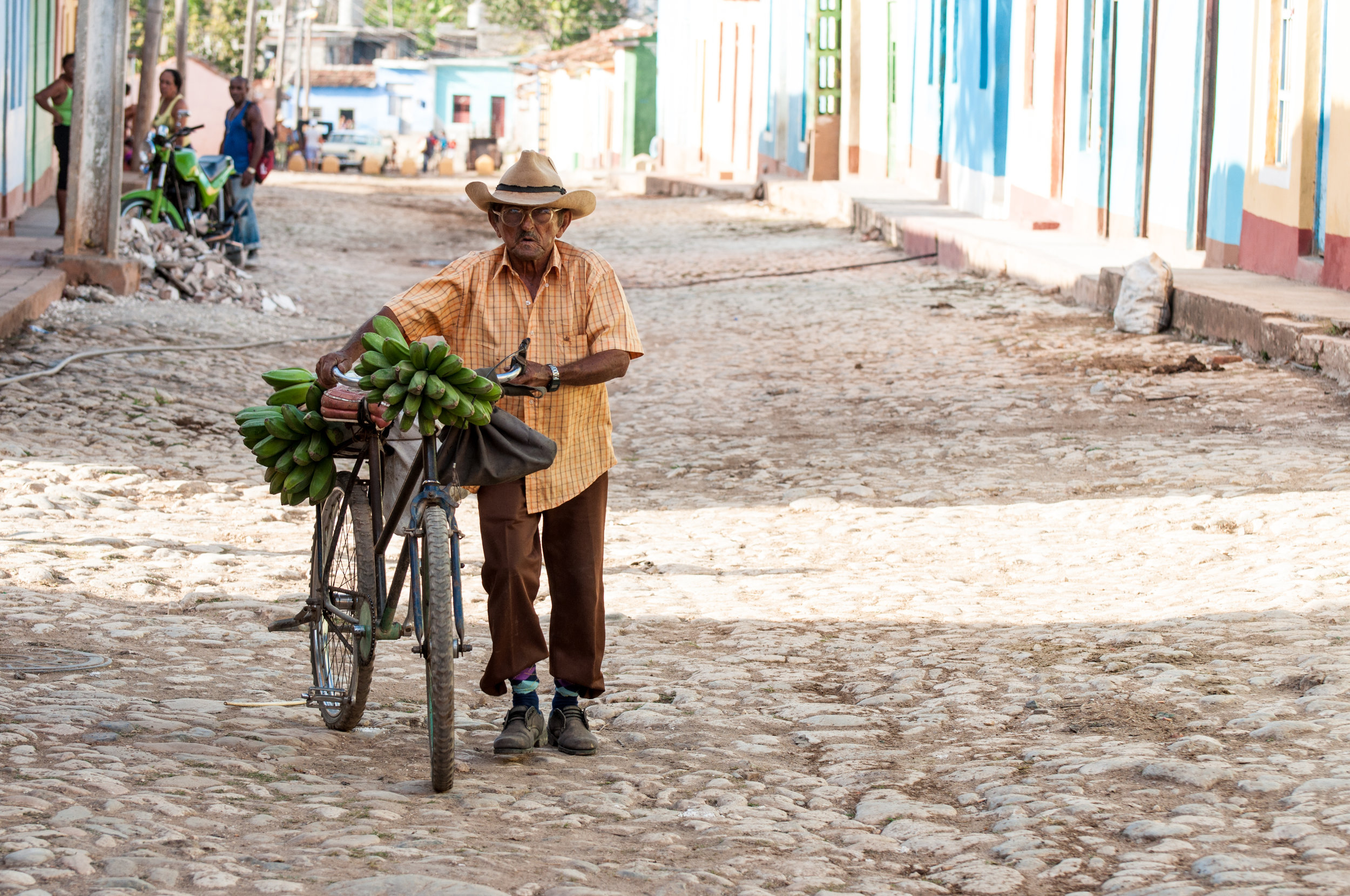 Much of Cuba's produce is sold via bicycle, pushcart, or horse cart