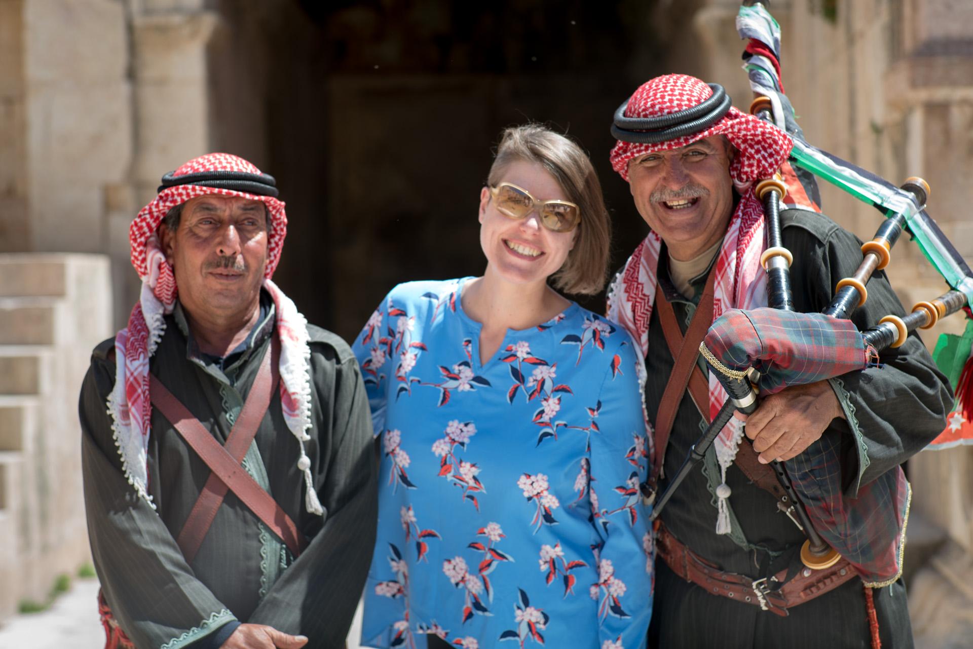 Jordanian musicians playing the bagpipes  +