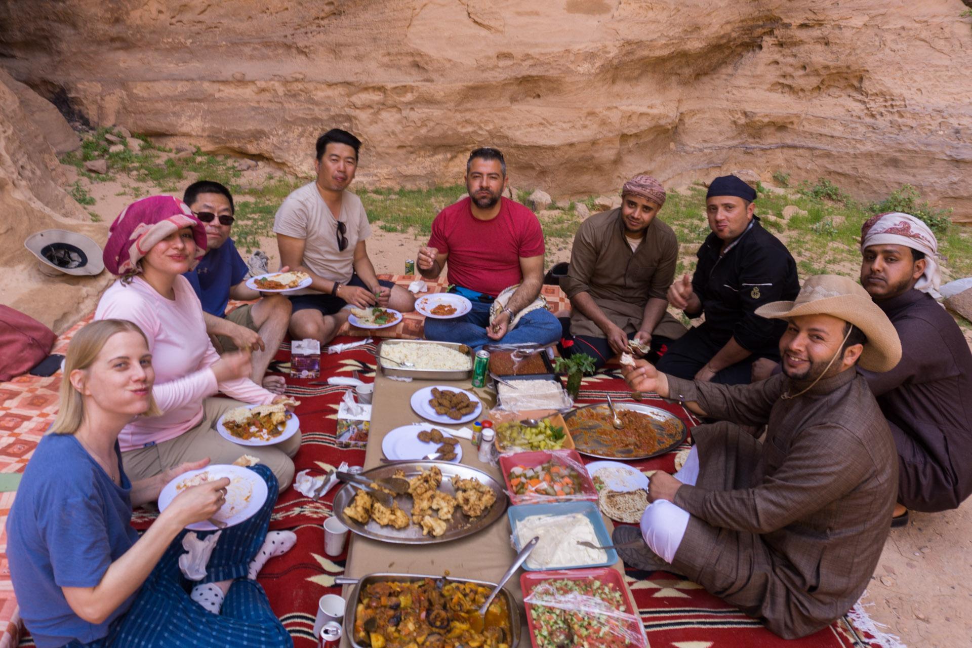 Picnic in the Wadi Rum desert