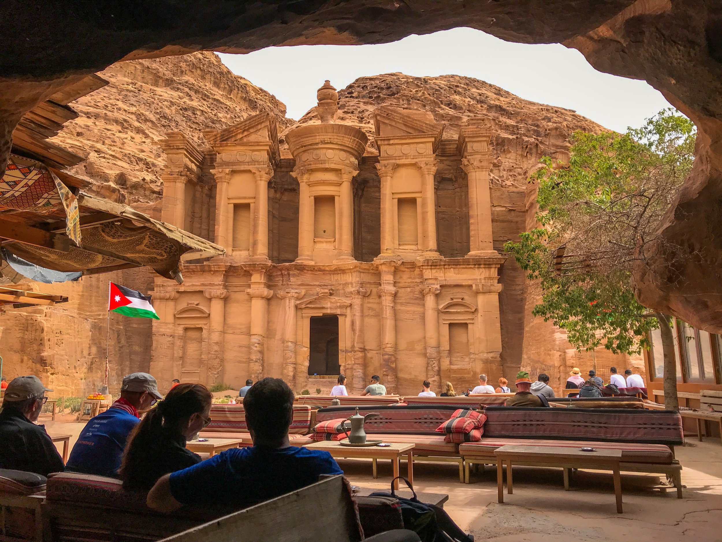 The view of Petra's Monastary from a cave cafe