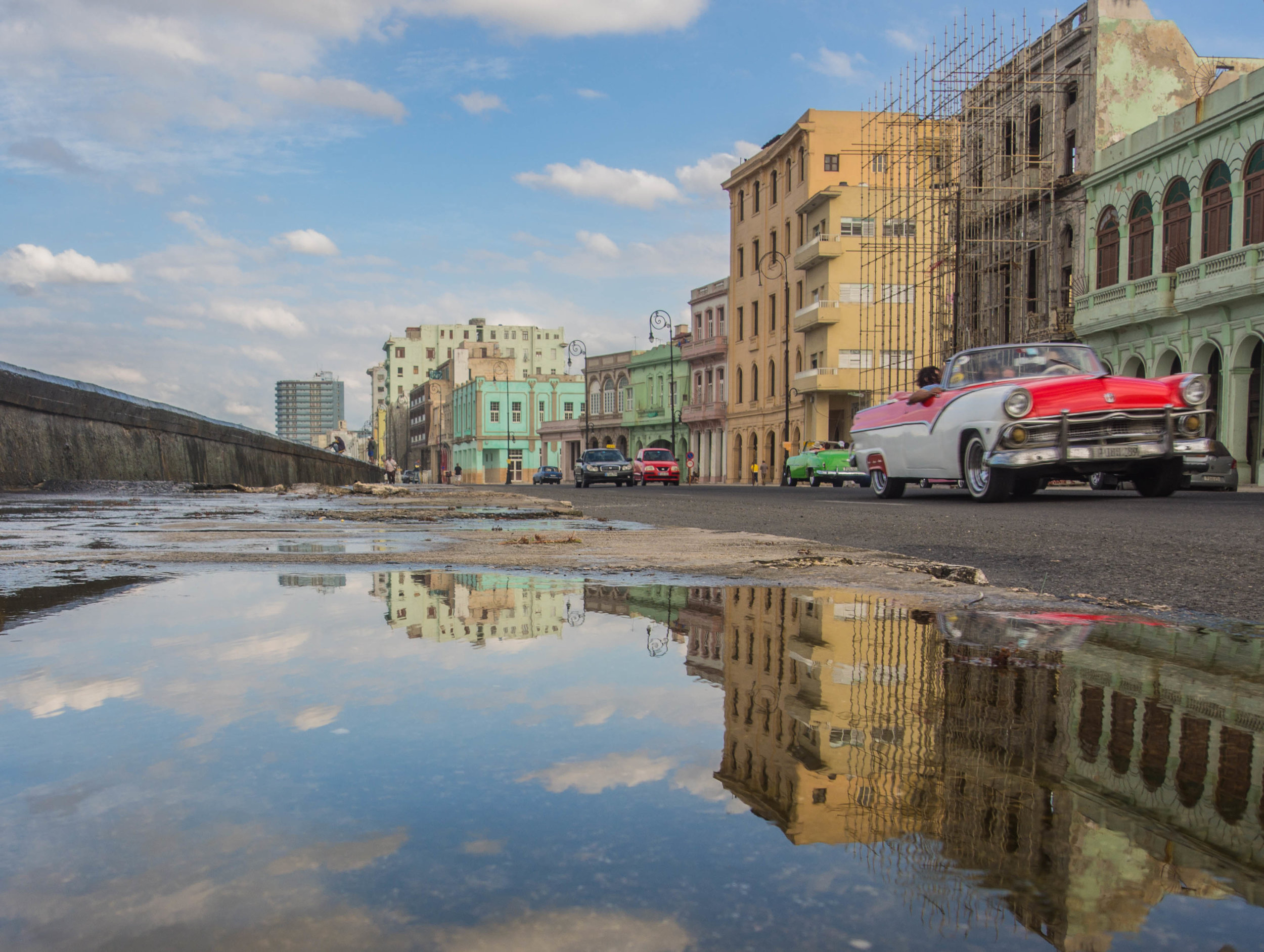 Reflection on Havana's classic malecon