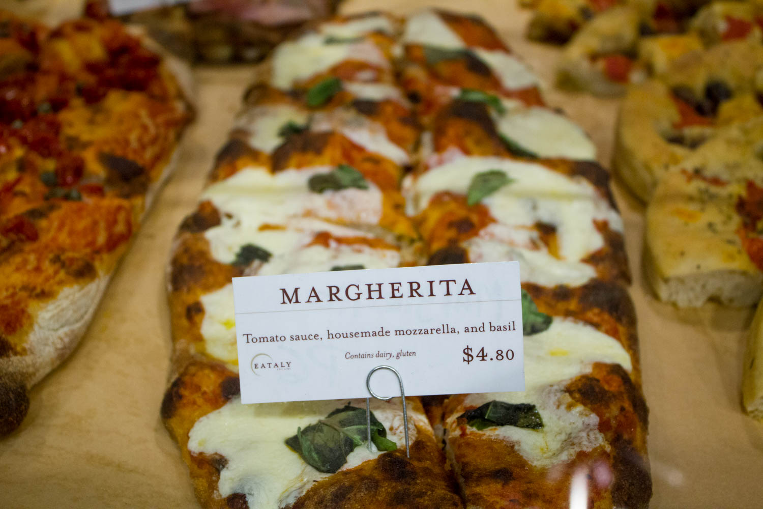 Pizza on display at Eataly.