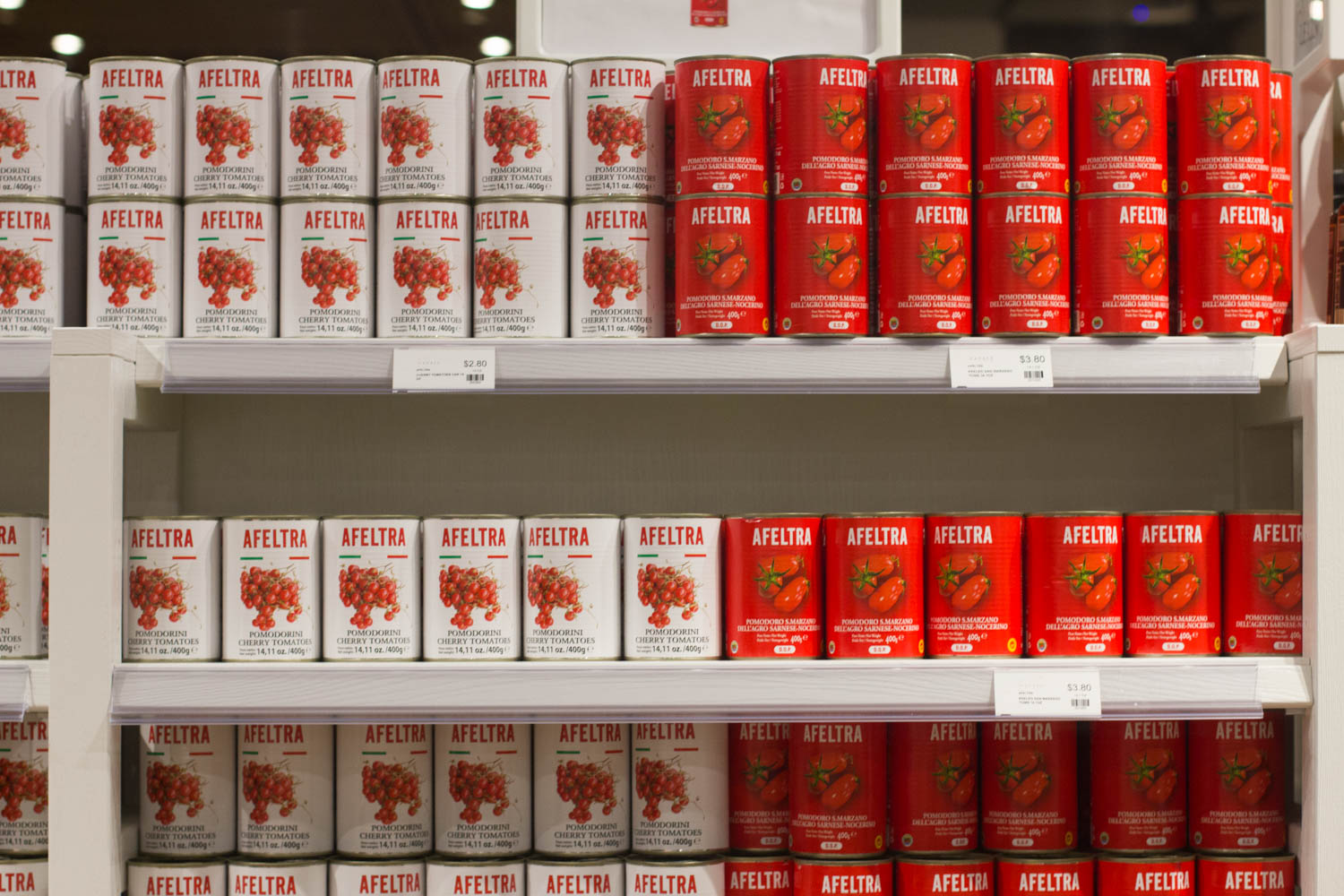 Cans of tomatoes at Eataly.