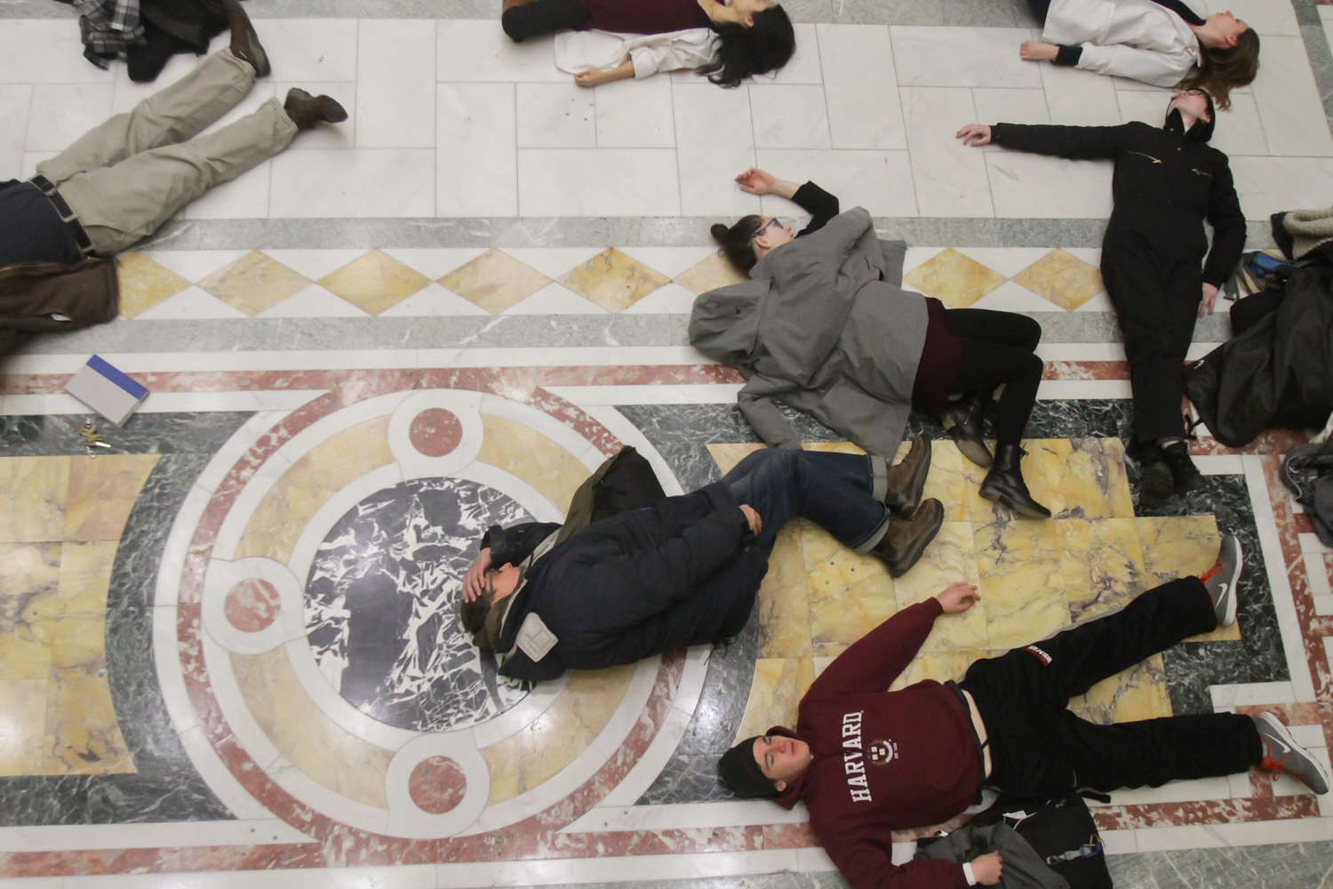"""Protesters stage a """"die-in"""" in the Nurses Hall of the Massachusetts State House."""