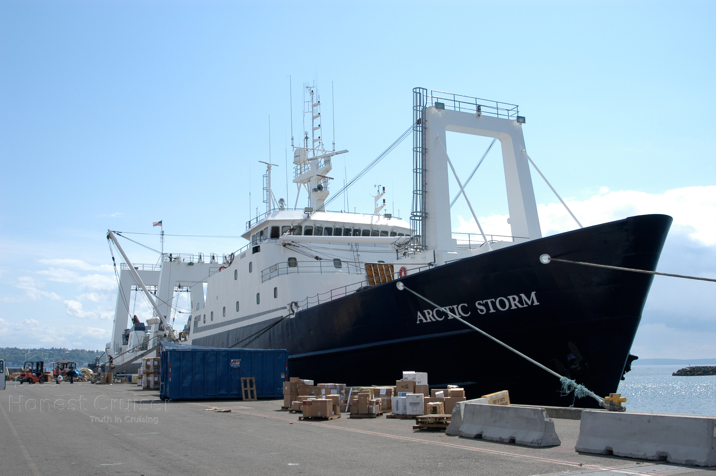 Arctic Storm loading supplies. Photograph courtesy of Captain Hempstead.