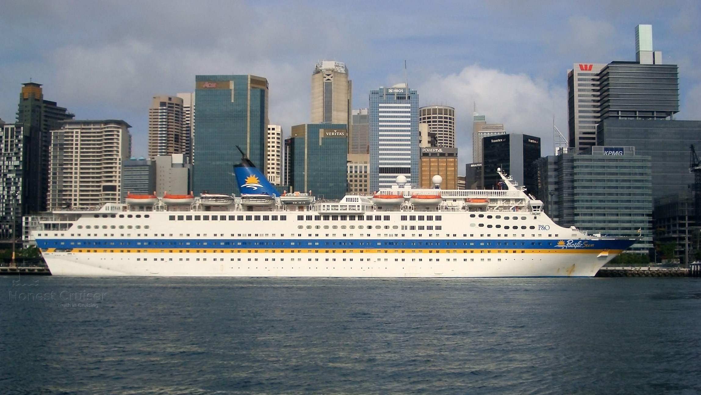 Magellan's near sister Pacific Sun (ex-Jubilee), seen here in Sydney, has had her trademark Carnival funnel 'wings' removed.