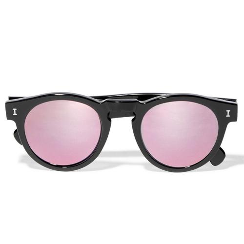 Leonard round-frame acetate mirrored sunglasses