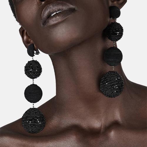 Les Bonbons Four-Ball Earrings - Black
