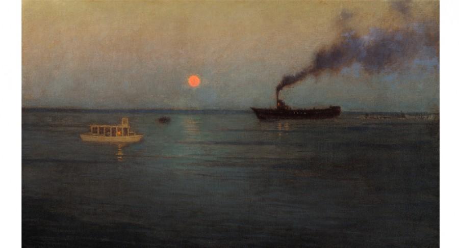 Rosy Moon Off Charleston Harbor , ca 1908-1916, by Birge Harrison
