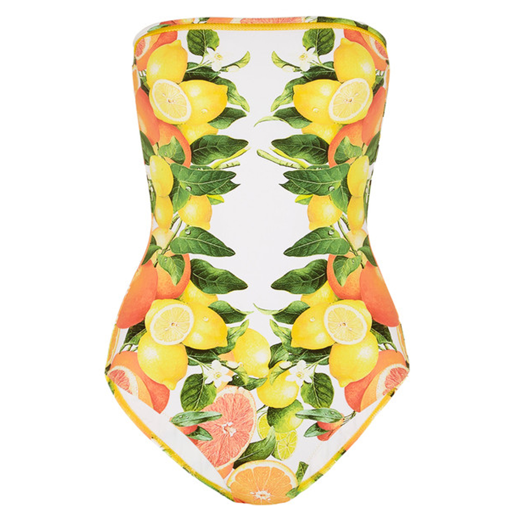 STELLA MCCARTNEY Mesh-trimmed printed bandeau swimsuit