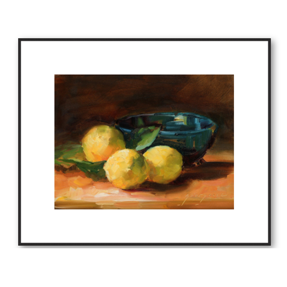 Lemons and Blue Bowl by Georgesse Gomez