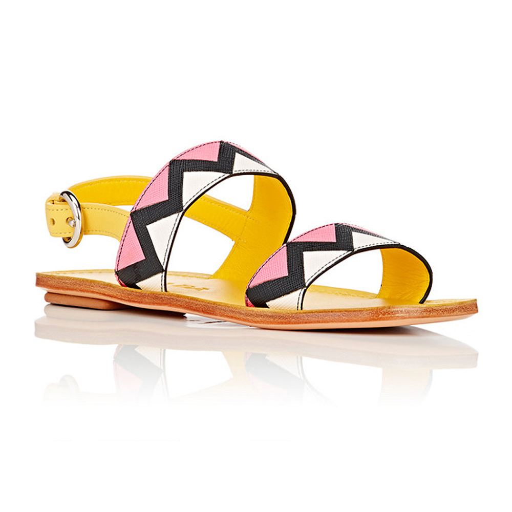 PRADA Saffiano Leather Double-Band Sandals