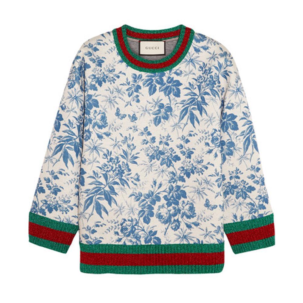 GUCCI Printed bonded cotton-jersey sweatshirt