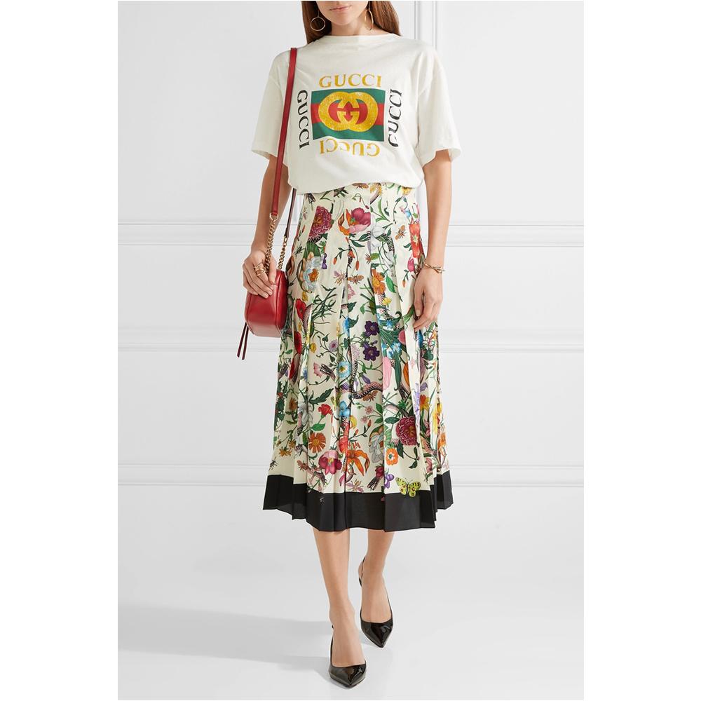 GUCCI Pleated floral-print silk crepe de chine midi skirt
