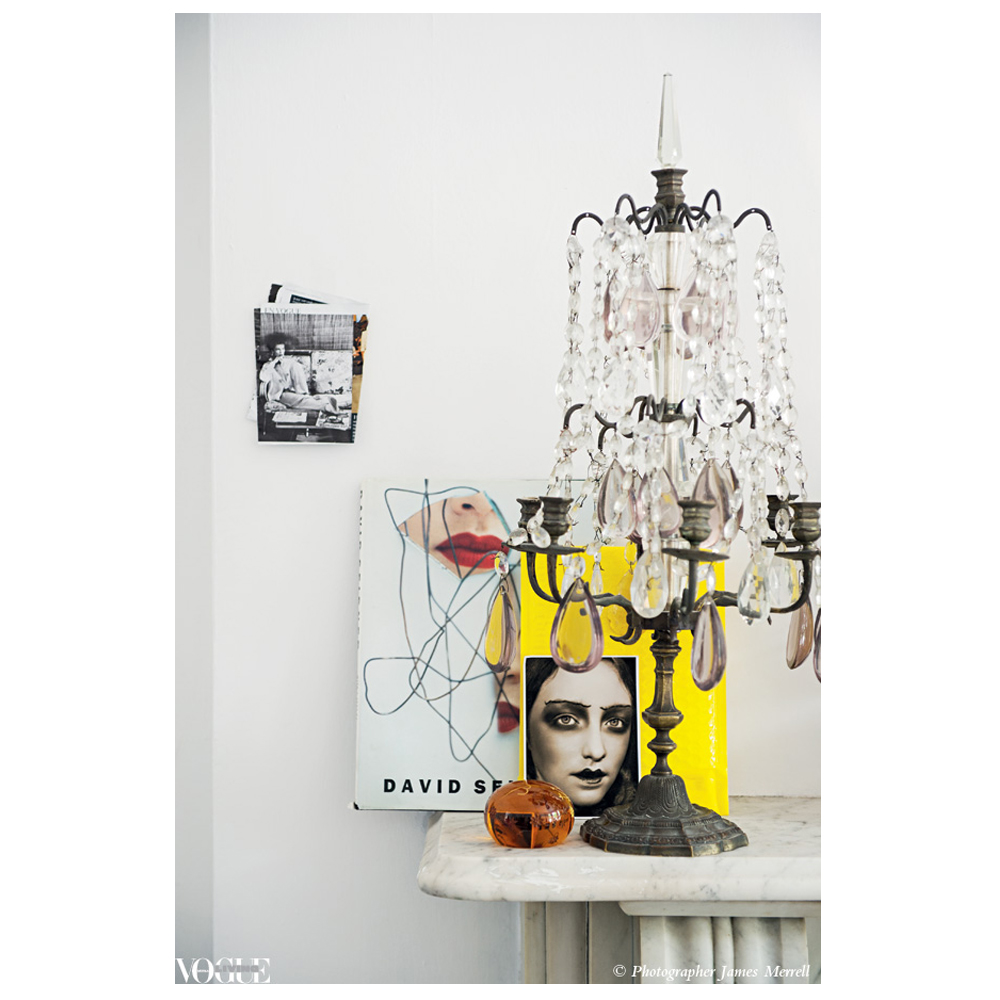 Antique candelabra + modern art