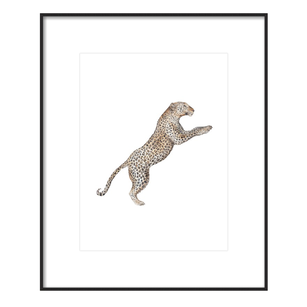 Leaping Leopard Watercolor by Lauren Rogoff