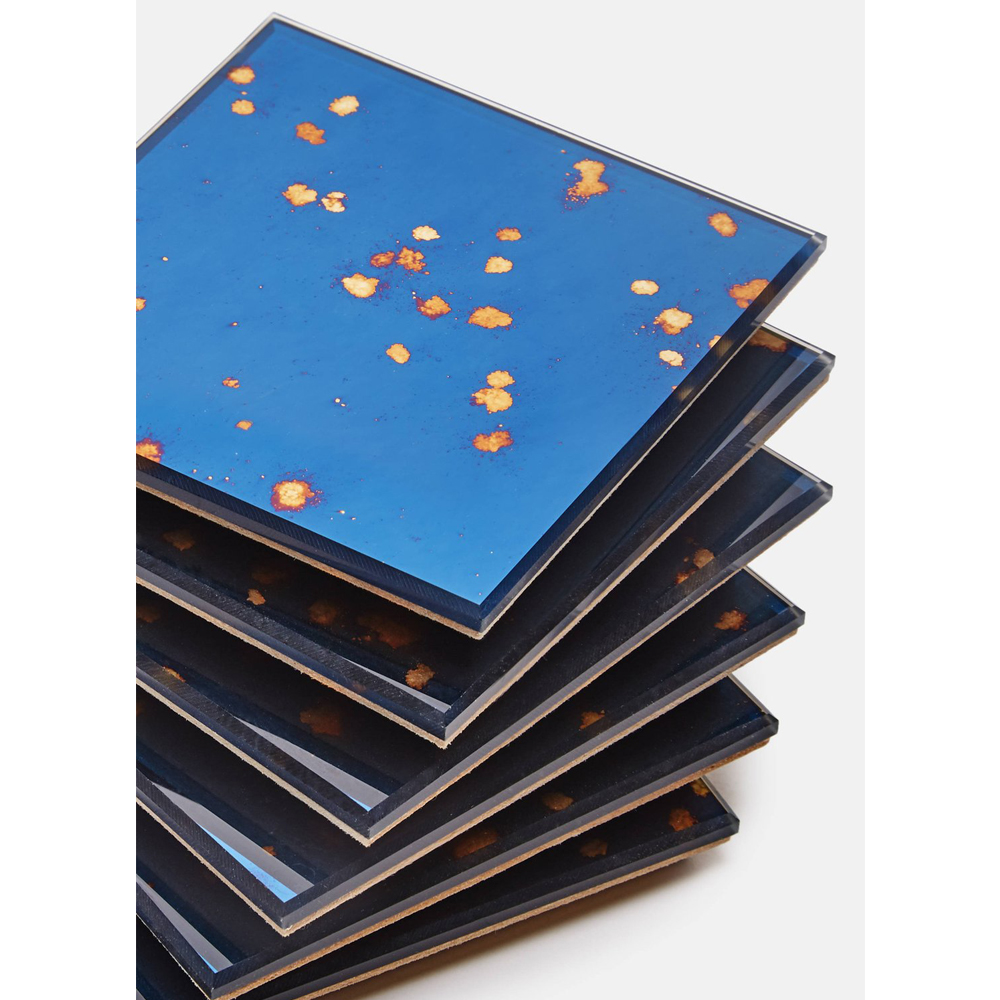 Antique Mirror Boxed Set of Six Mirrored Coasters - Stardust Blue