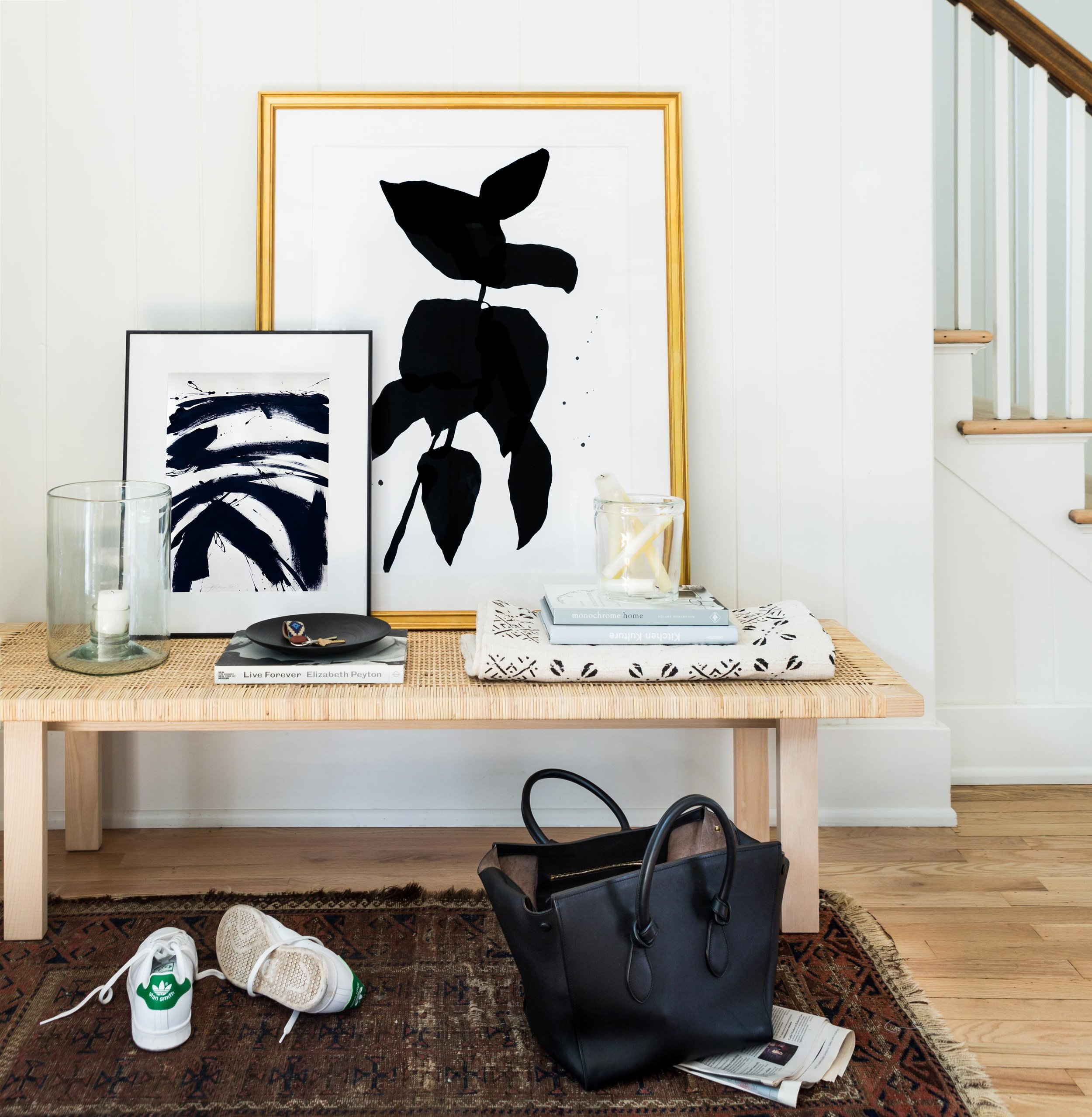 B + W #3  by  Jill Sykes  (left) and  Long Branch One  by  Kate Roebuck  (right).Photo by  Marta X. Perez  for Artfully Walls.