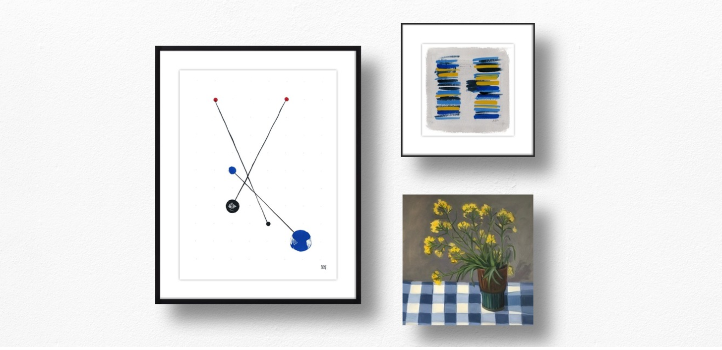(From left to right) 2 black 2 red 2 blue  by  Skye Schuchman ,  Untitled  by  Ashley D Begley , and  Weeds  by  Marie Freudenberger .