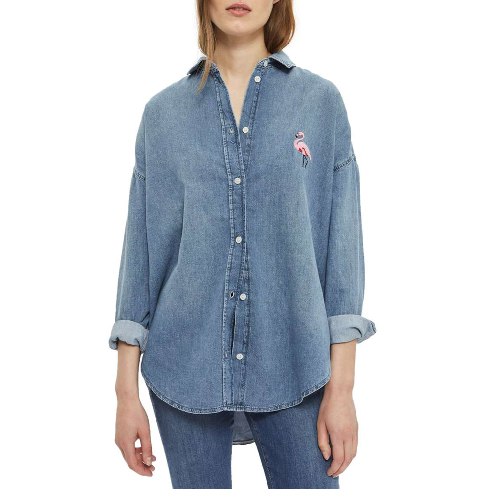 Flamingo Denim Shirt TOPSHOP