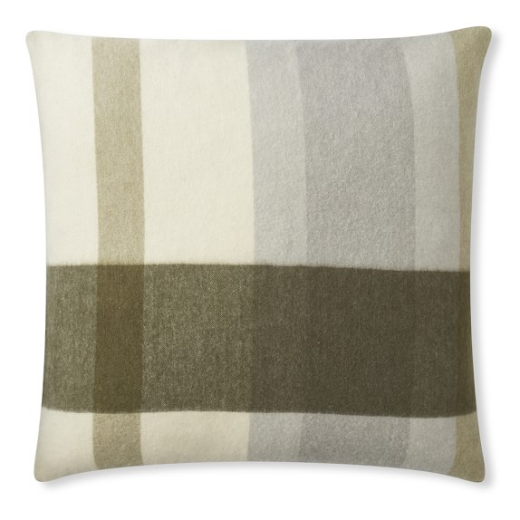 Ariana Plaid Lambswool Pillow, Grey Multi