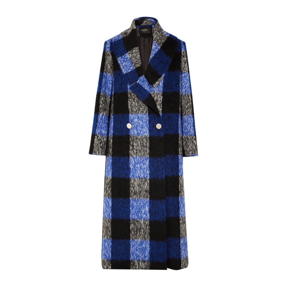 PAPER LONDON Checked brushed wool-blend coat