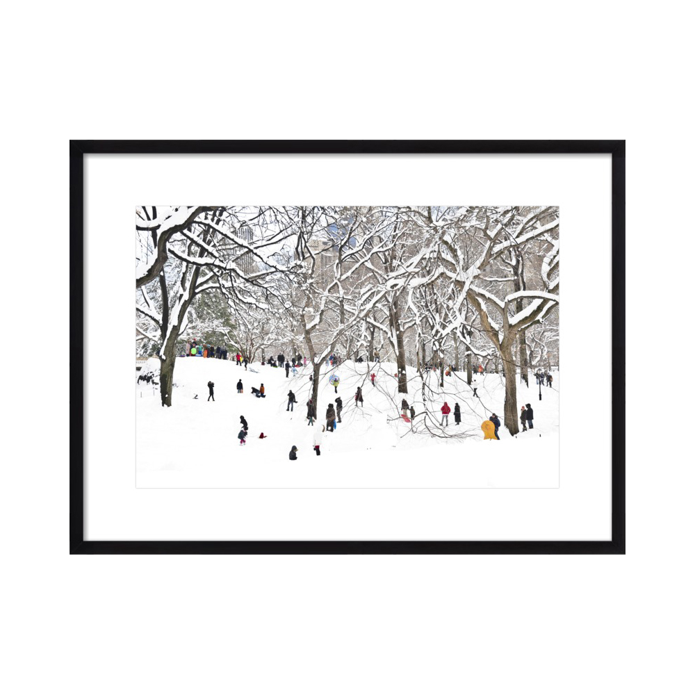 Central Park with Snow and People by Sivan Askayo