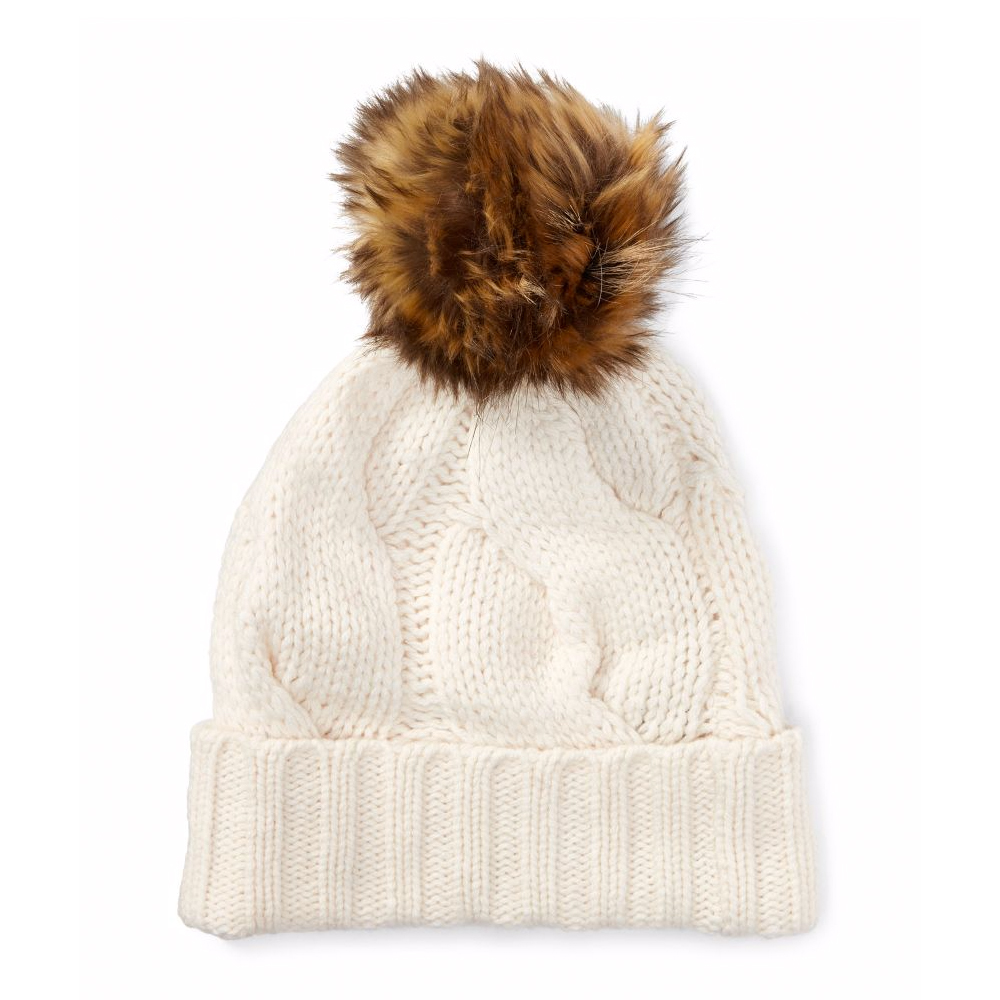 Rope Cable-Knit Pom-Pom Hat