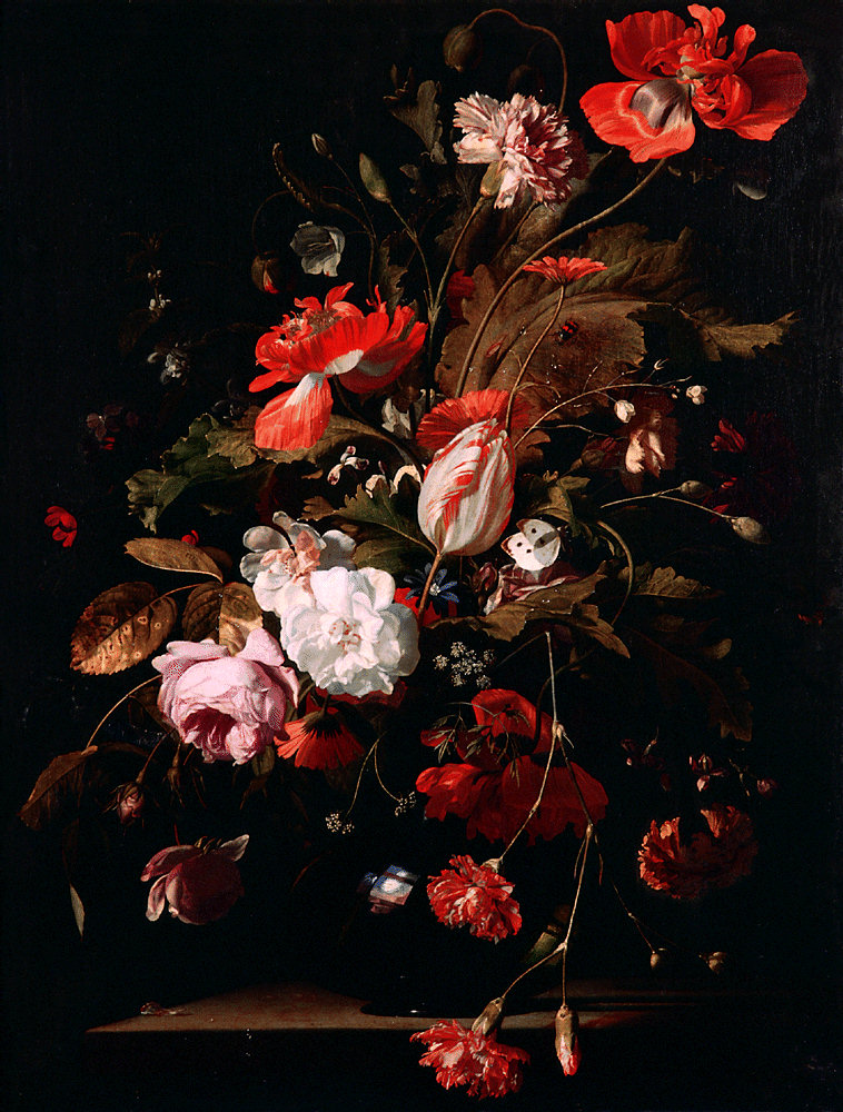 Willem van Aelst , Still life with a watch (c. 1665), with dark background and colorful extravagance, typical of Flemish taste.