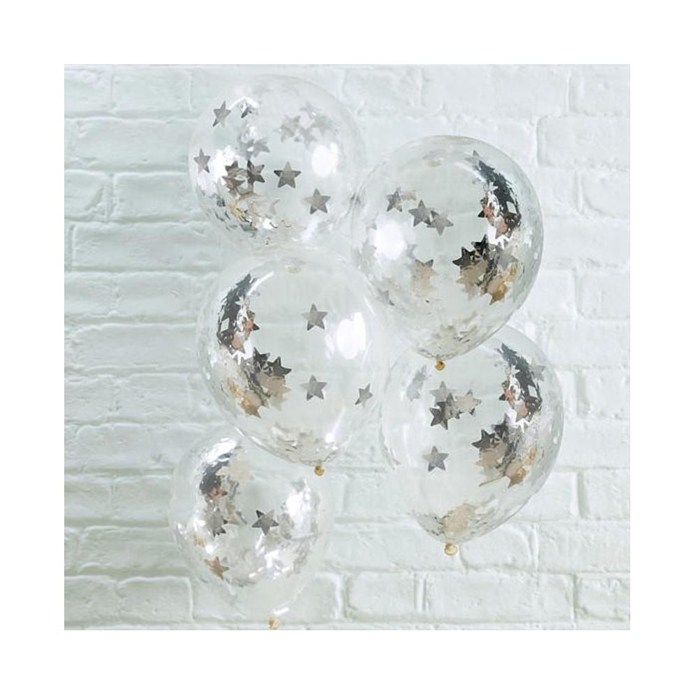 Silver Star Confetti Balloons