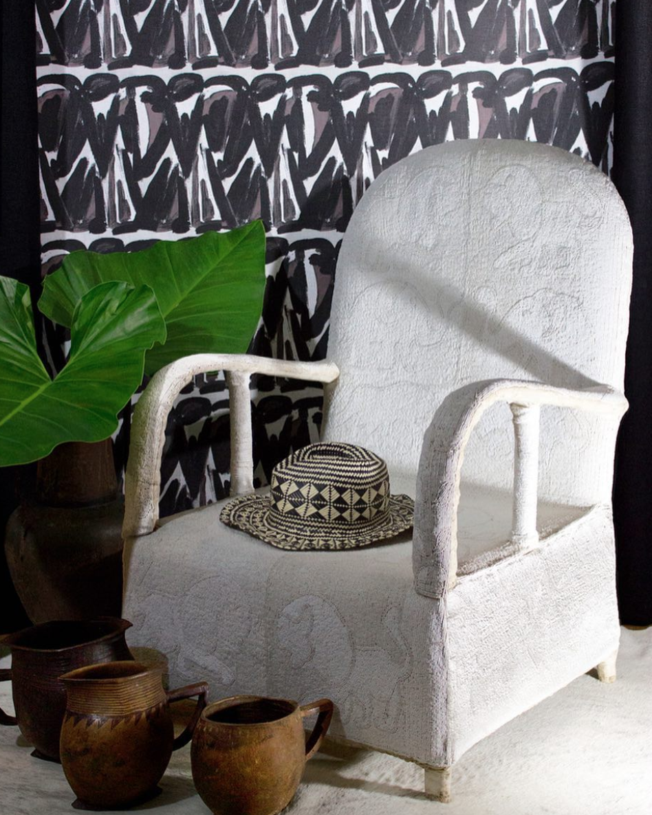 """Shown above: Anthony's """" Chaang """" fabric in Onyx."""