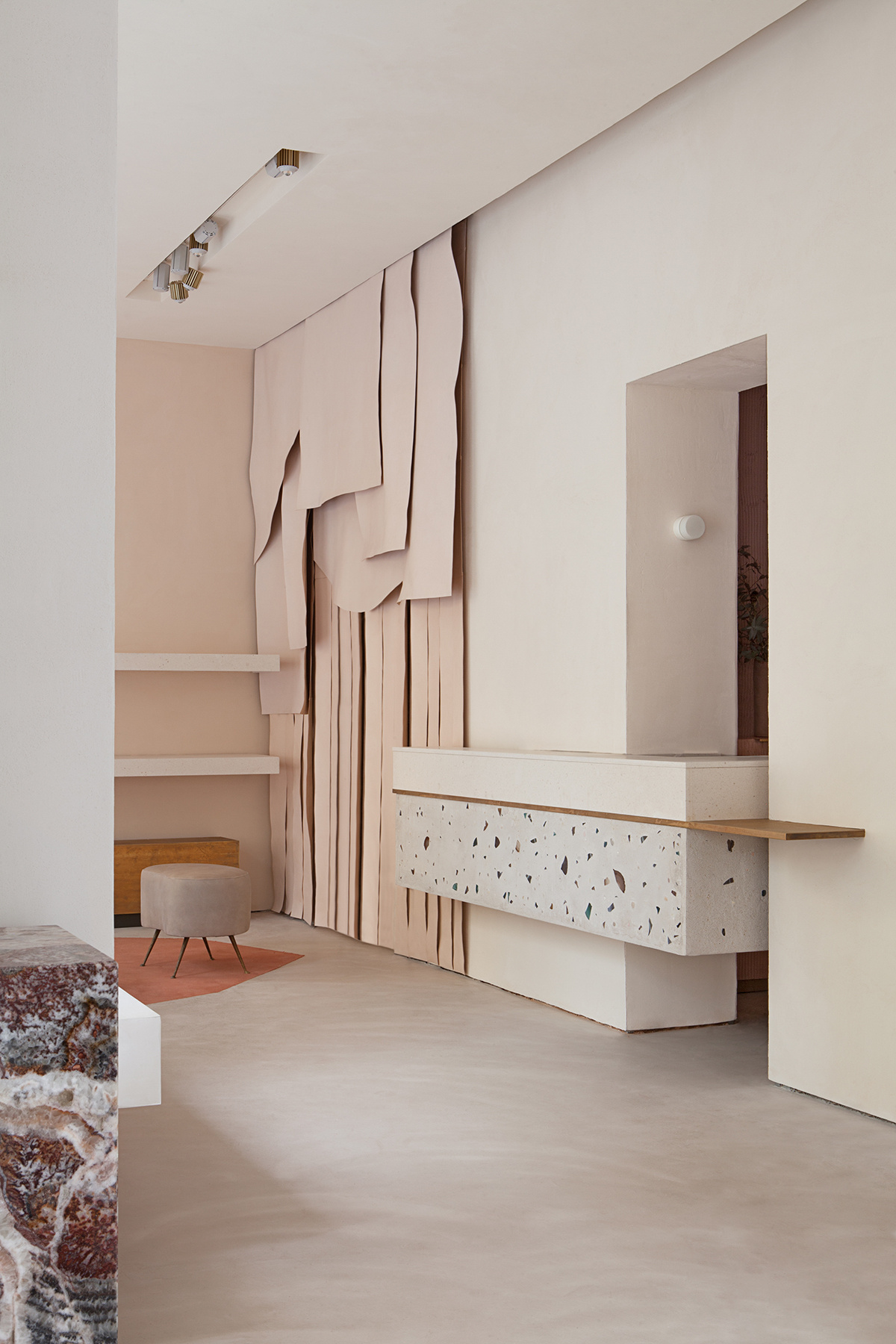 The newly designed  Malababa  store in Madrid, featuring terrazzo and dusty pink interiors.