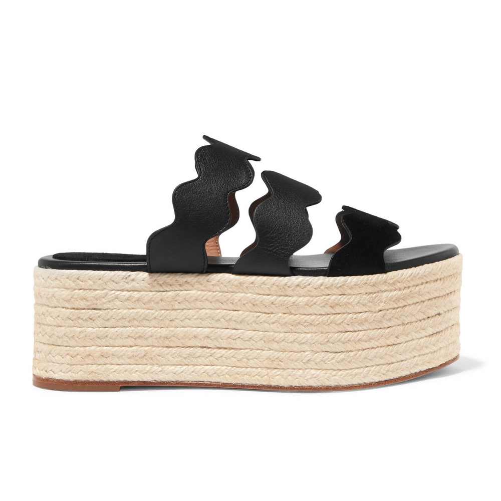 CHLOÉ Lauren scalloped suede and textured-leather espadrille platform slides