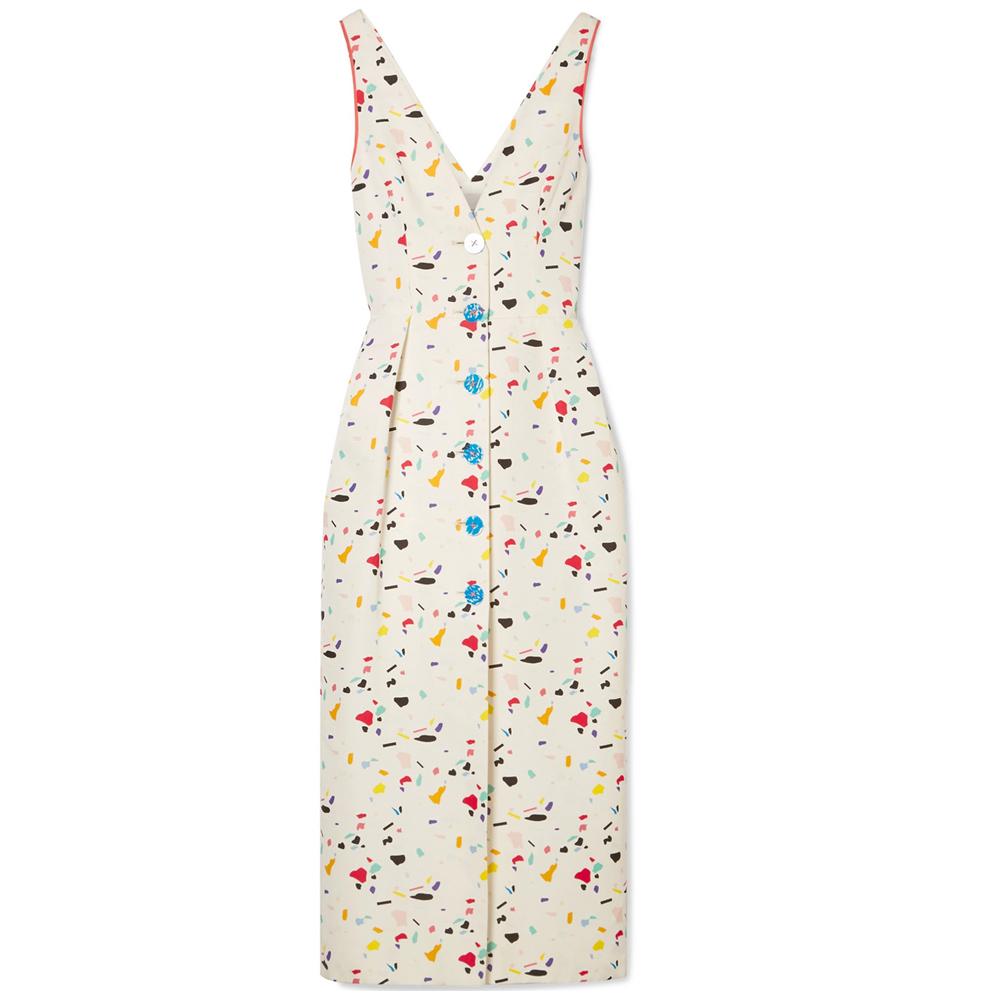 CAROLINA HERRERA Printed cotton-blend faille midi dress
