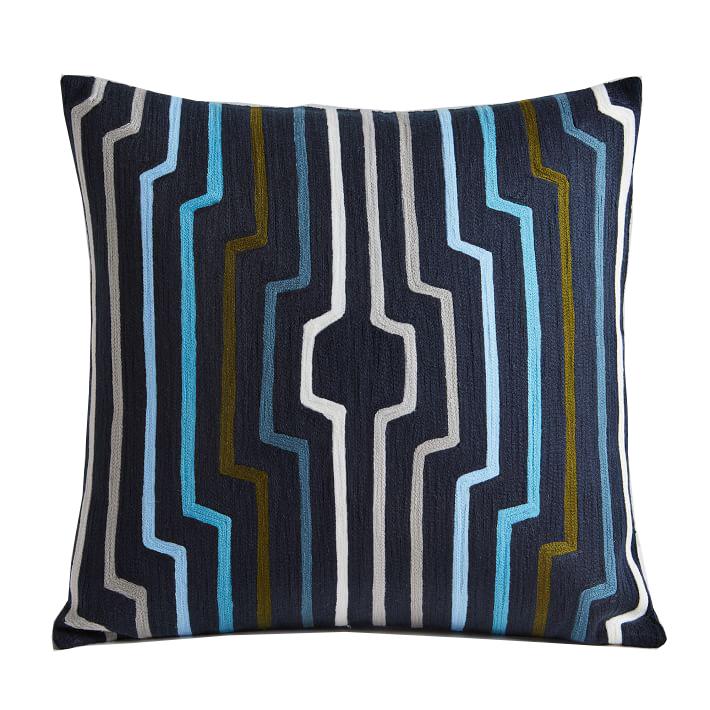 Crewel Geo Ripple Pillow Cover