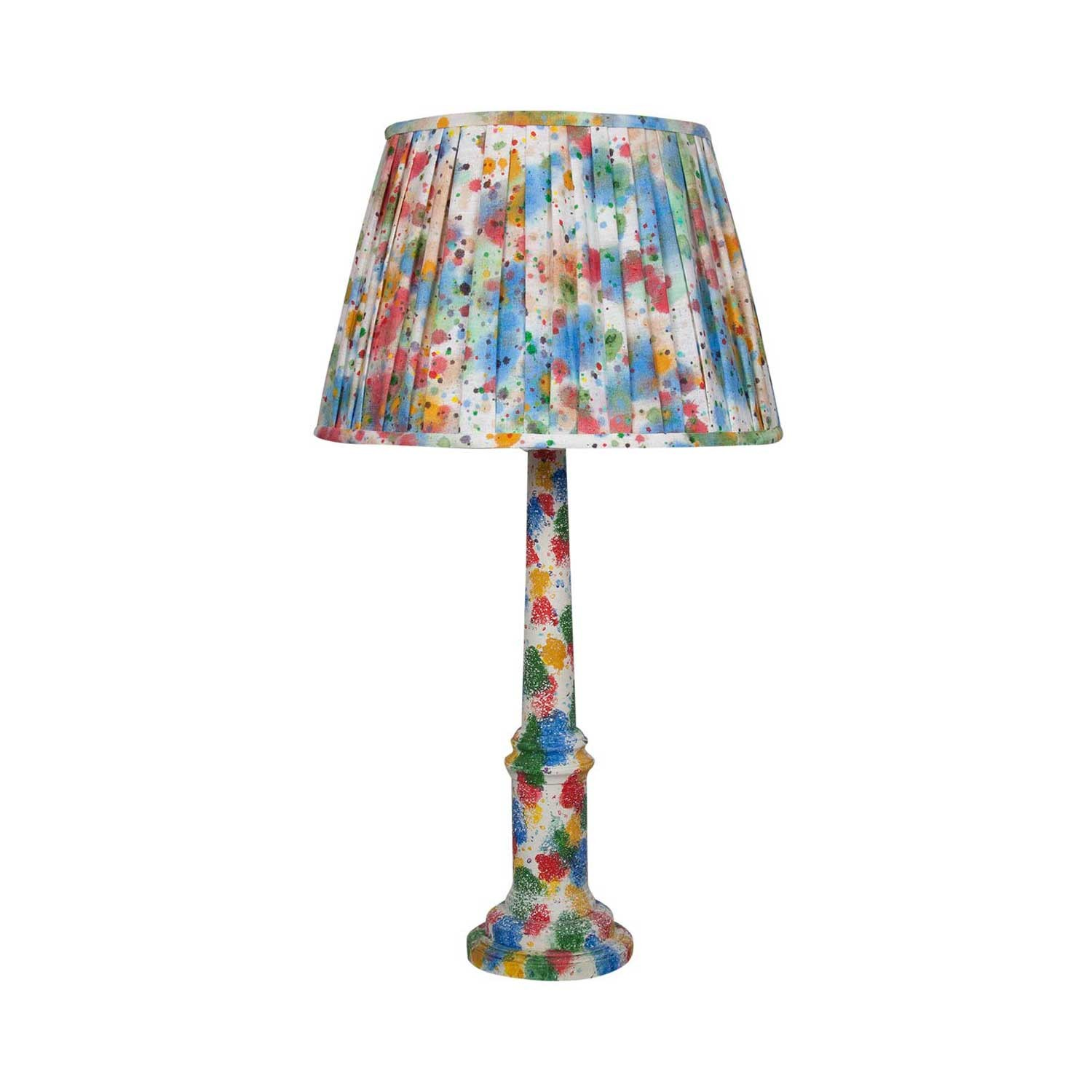 End Of Day Confetti Turned Column Lampbase and Splatter Linen Lampshade