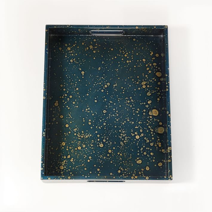 """Oil Splatter Lacquer Tray, Nightshade, 14""""X18"""""""