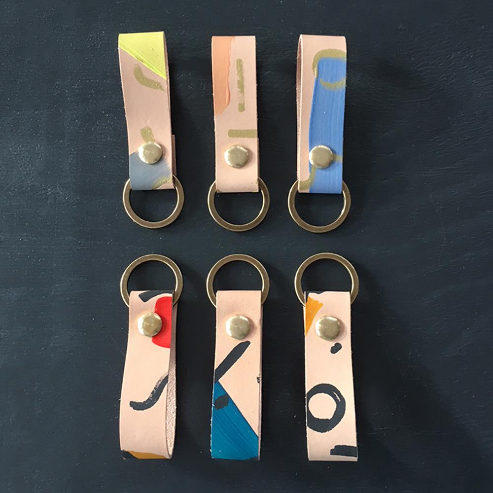 brush strokes leather keychain