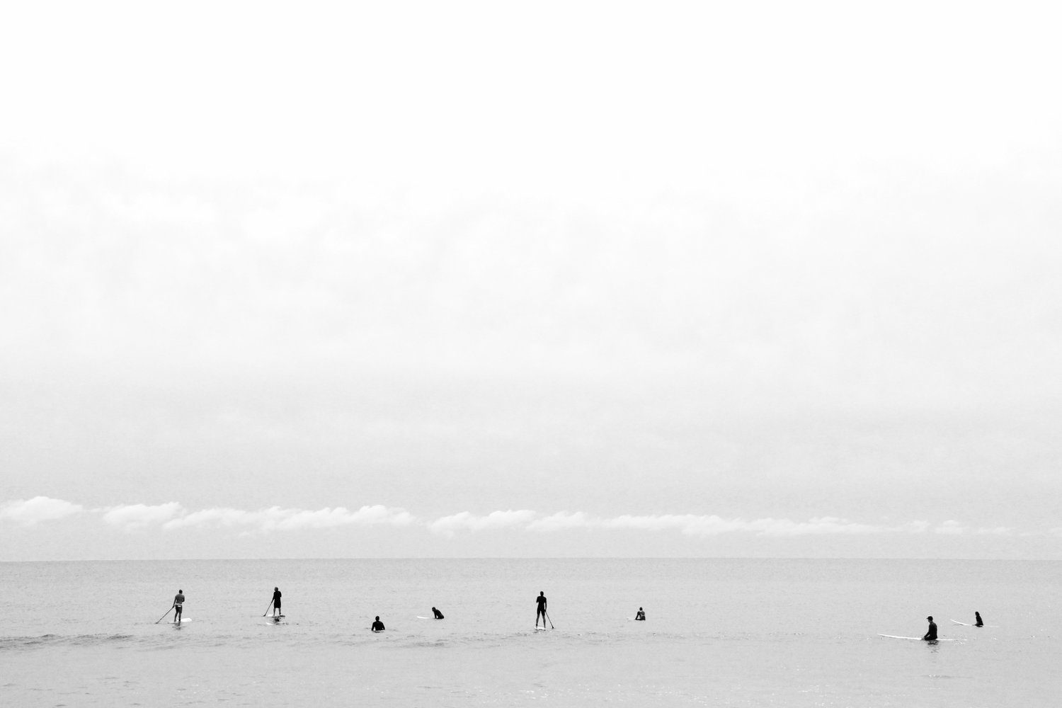 """You can feel the anticipation from the surfers as they await the incoming waves,"" says Marttila of her work titled ""Lineup."""
