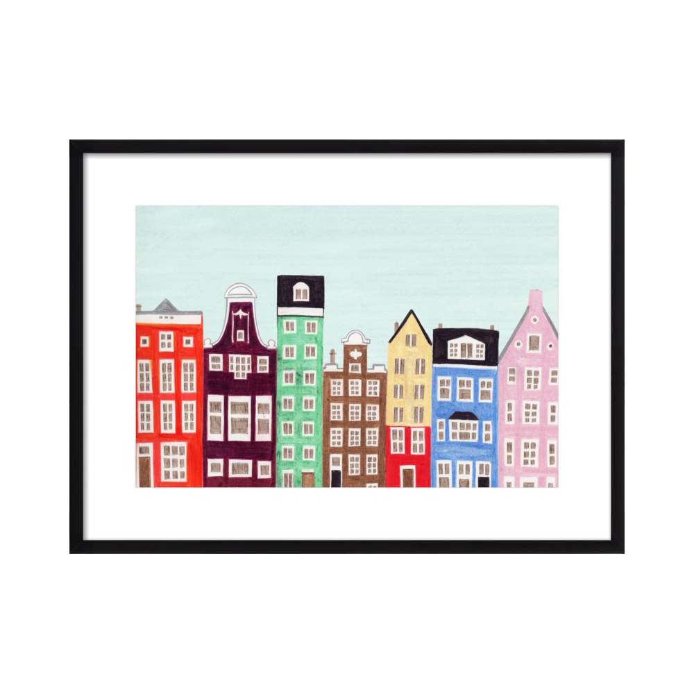Amsterdam, Netherlands, Holland Row Houses Colorful Illustration Art Print  BY ANNA SEE