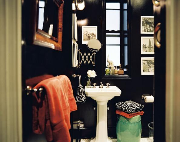 A Hollywood regency style bathroom designed by Ethan Feirstein & Ari Heckman via  Lonny .