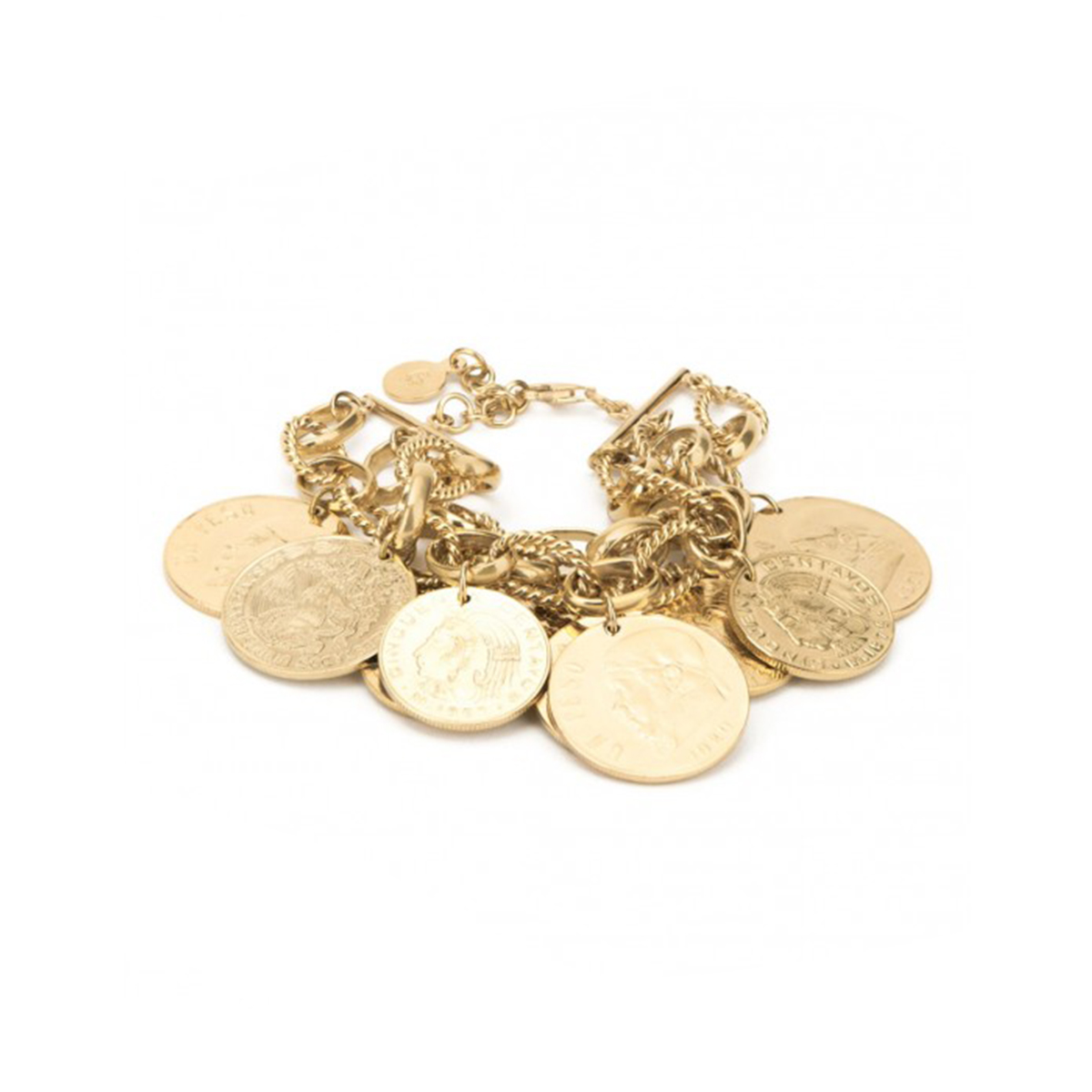 Gold-plated Mexican peso bracelet by Daniel Espinosa
