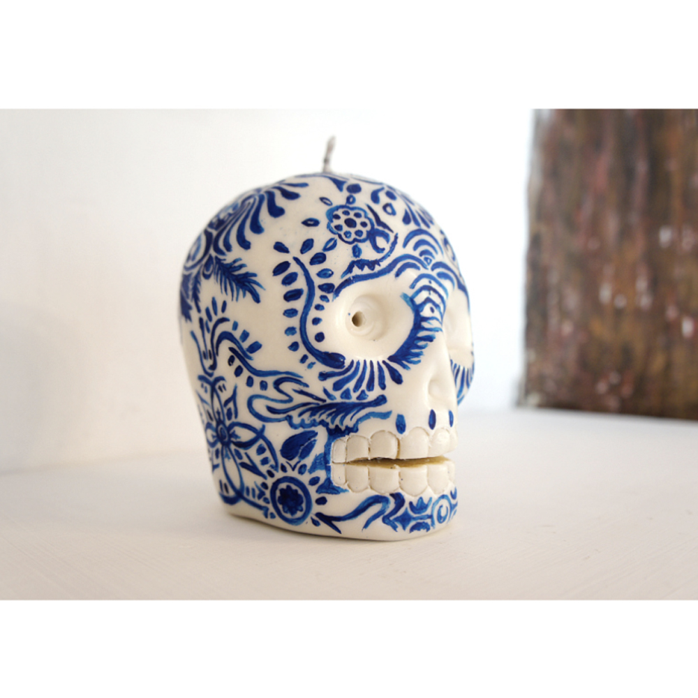 Skull Candle, Hand Painted Talavera Blue and Gold