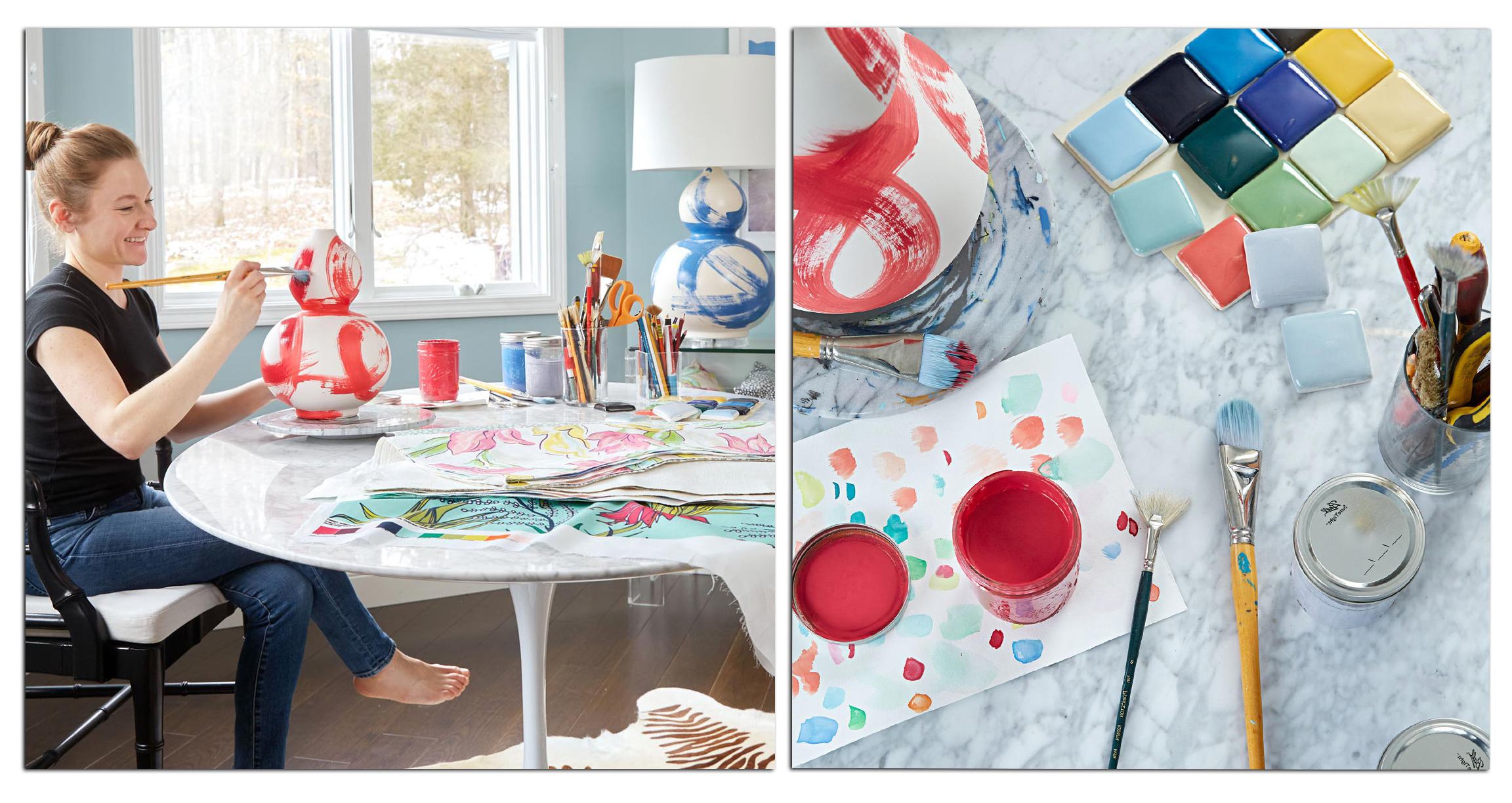 Designer  Jana Bek  in her home studio. Photography by  Adam Albright  for  Midwest Living .
