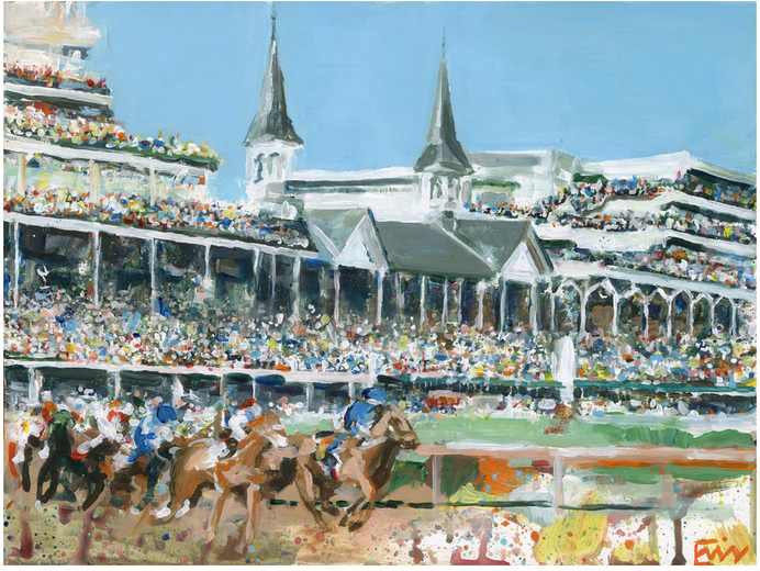 Painting of the Kentucky Derby at Churchill Downs by  Erin Tapp .