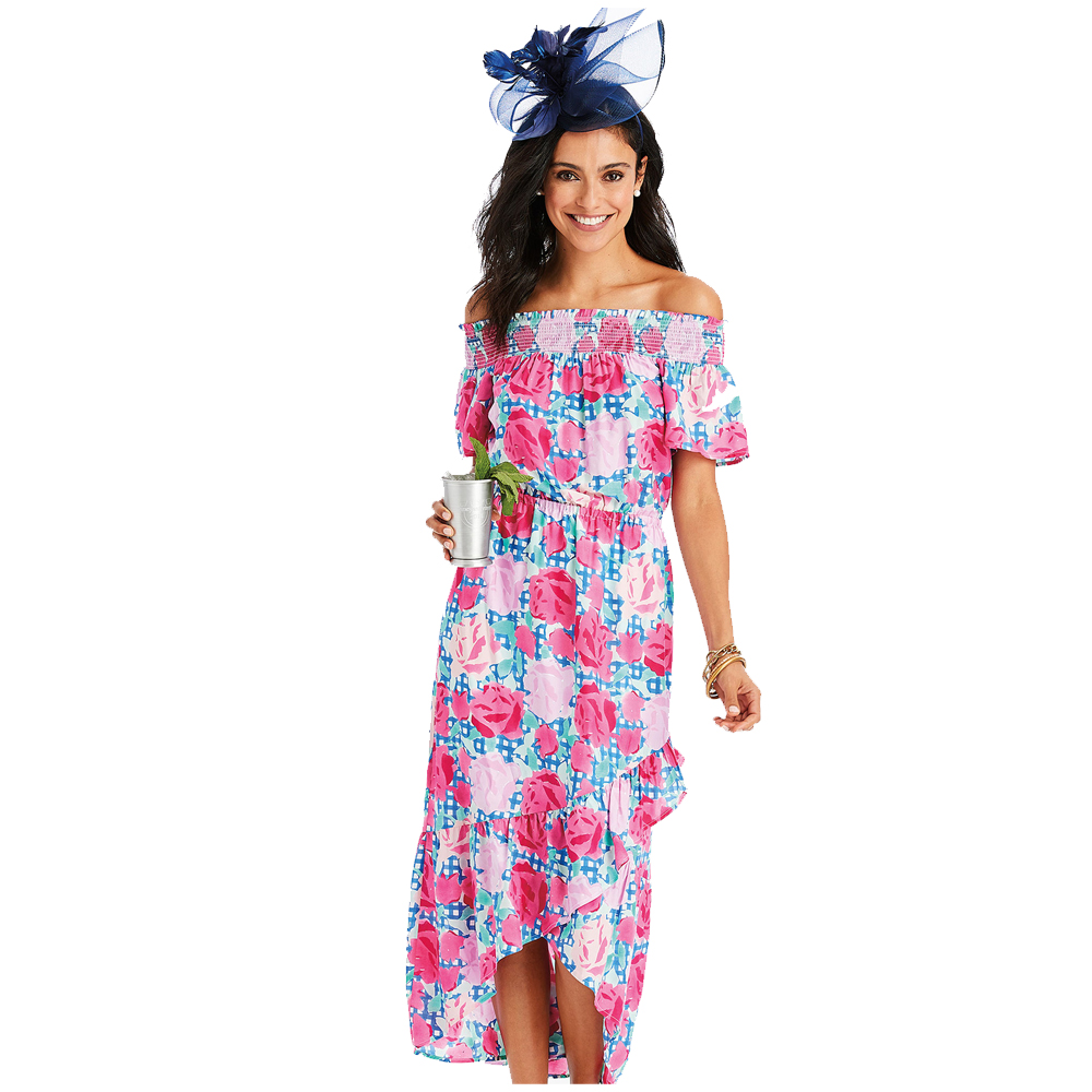 Official Style of the Kentucky Derby®  Off The Shoulder Run For The Roses Dress