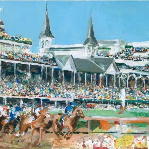 "With the legendary Kentucky Derby just two days away, our team has rounded up a winning combination of art, inspired by ""The Greatest Two Minutes in Sports"". #linkinprofile  Seen here: Chuchill Downs by Erin Tapp"