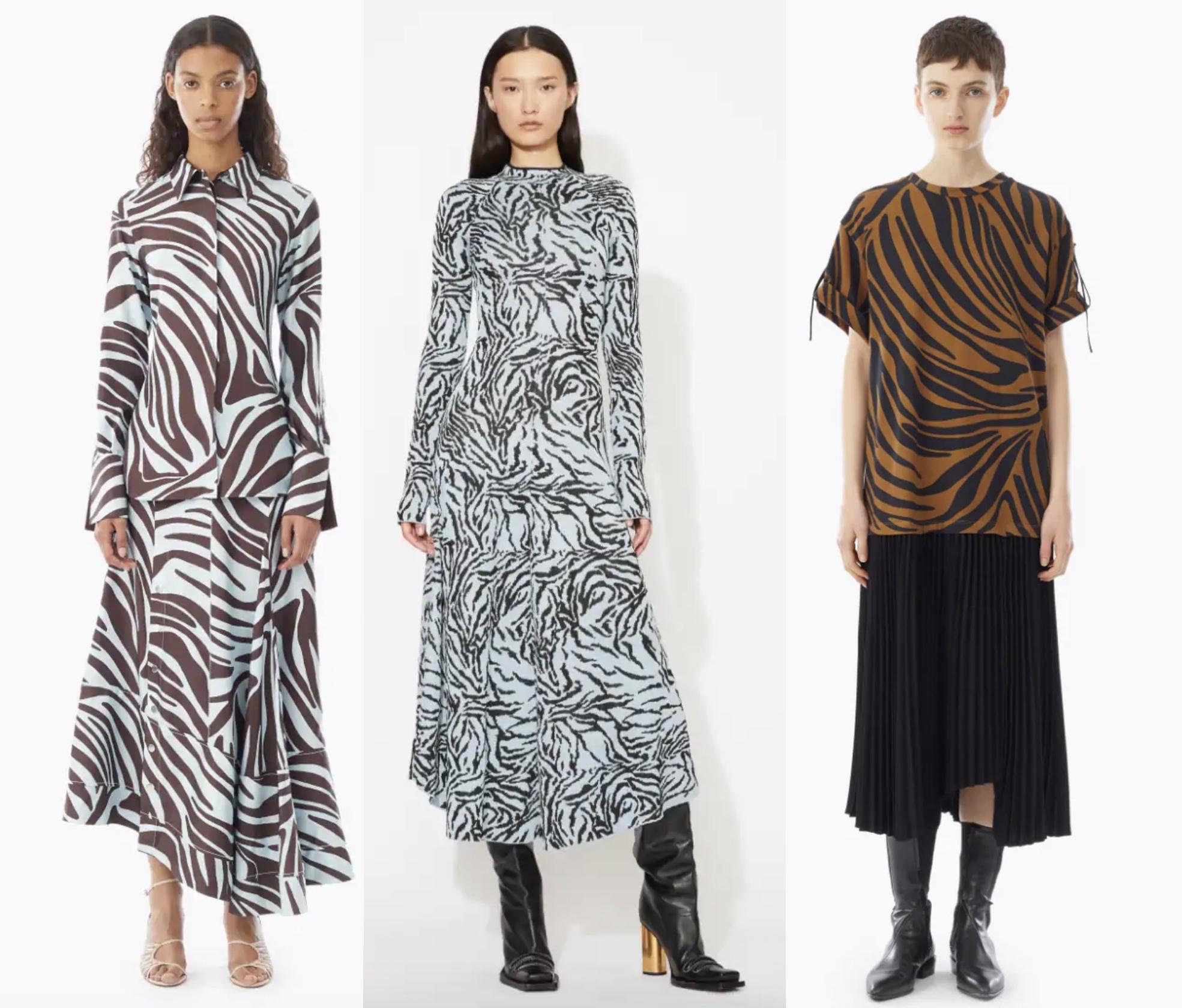 Zebra Print Blouse  and Skirt by 3.1 Phillip Lim,  Zebra Jacquard Long Sleeve Dress  by Proenza Schouler, and  Pleated Zebra Print T-Shirt Dress  by 3.1 Phillip Lim.