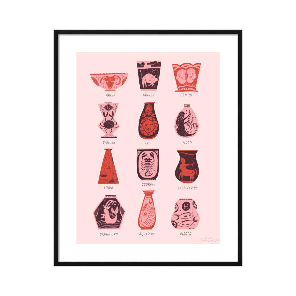 Zodiac Vessels (labeled)  BY ERIN WALLACE